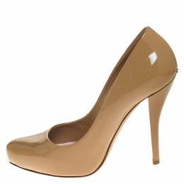 Dior Beige Patent Leather Platform Pumps Size 36.5 274685
