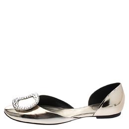 Roger Vivier Metallic Gold Leather Crystal Embellished D'orsay Ballet Flats Size 38 275006