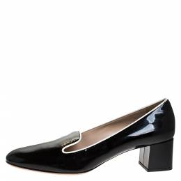 Prada Black Patent Leather Loafer Block Heel Pumps Size 39 275485