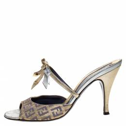 Fendi Multicolor Zucca Canvas and Leather Bow Slide Sandals Size 37.5 274930
