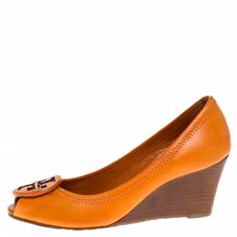 Tory Burch Orange Leather Logo Wedge Peep Toe Pumps Size 36.5 275495