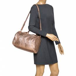 Alexander Wang Metallic Rose Gold Textured Leather Rockie Duffel Bag 274559