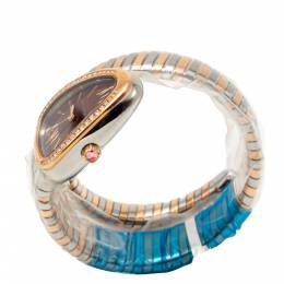Bvlgari Brown Dial Serpenti Tubogas Steel & Rose Gold Diamond Bezel Women's Watch 275203