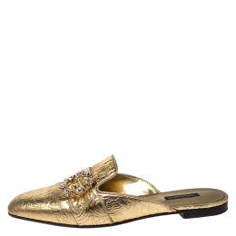 Dolce&Gabbana Gold Floral Textured Leather Flat Mules Size 40 274566