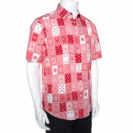 Louis Vuitton Red & White LV Cards Print Cotton Regular Fit Shirt L 274794
