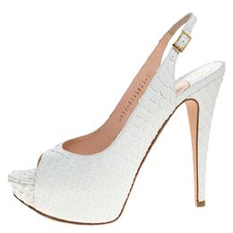 Gina White Python Leather Peep Toe Platform Slingback Sandals Size 38.5 274571