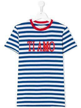 Alberta Ferretti Kids футболка Ti Amo в полоску 022183T