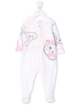 Kenzo Kids комбинезон для новорожденного с анималистичным принтом и логотипом KQ5400301