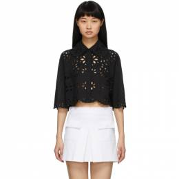 Red Valentino Black Cropped St. Gallen Shirt TR0AA01A51F
