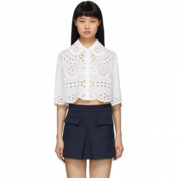 Red Valentino White St. Gallen Cropped Shirt TR0AA01A51F