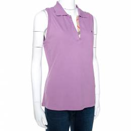 Burberry Purple Cotton Sleeveless Polo T-Shirt XL 275348