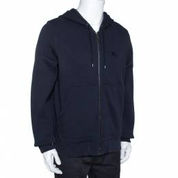 Burberry Midnight Blue Cotton Zip Front Hooded Sweatshirt L 275269