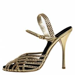 Roberto Cavalli Metallic Gold Leather Studded Strappy Sandals Size 41 275096