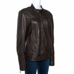 Just Cavalli Brown Nappa Leather Zip Front Jacket S 275048