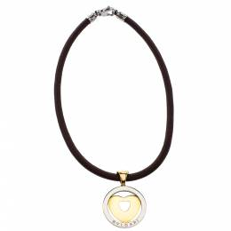 Bvlgari Tondo Heart 18K Yellow Gold & Stainless Steel Pendant Cord Necklace 275598