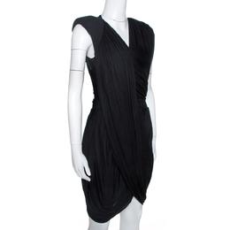 Givenchy Black Jersey Padded Shoulder Detail Draped Dress M