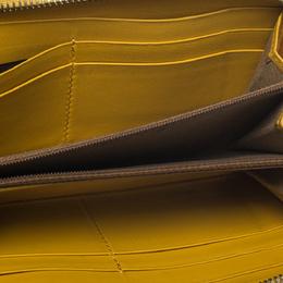Fendi Yellow Leather Zip Around Wallet 274996