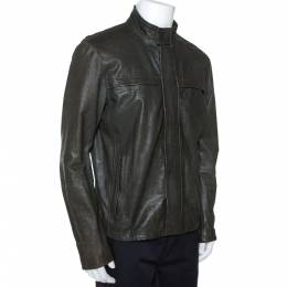 Armani Collezioni Dark Green Nappa Leather Jacket XL 275496