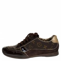 Louis Vuitton Brown Monogram Canvas and Suede Low Top Sneakers Size 38 275492