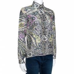Etro Multicolor Floral Paisley Print Silk Long Sleeve Shirt M 275212