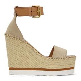 See By Chloe Beige Glyn Platform Sandals SB26152 11195