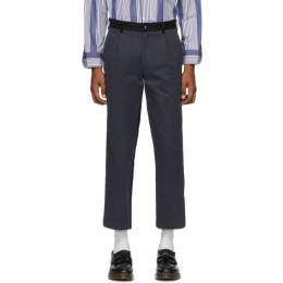 Noah Nyc Navy and Black Single-Pleat Chino Trousers P1SS20