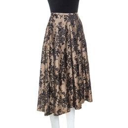 Celine Black And Beige Floral Silk Jacquard Flared Skirt S 251415
