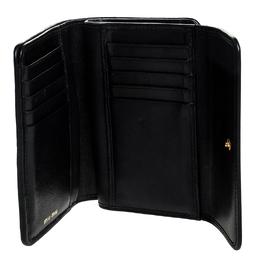 Miu Miu Black Matelasse Flap Compact Wallet 251426