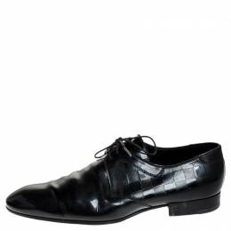 Louis Vuitton Black Damier Embossed Patent Leather Lace Up Derby Size 44 251422