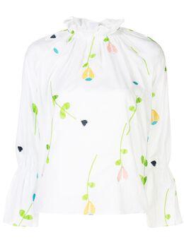 Cynthia Rowley блузка Aurelia с вышивкой 20R1TP02CO