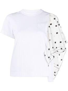 Sacai футболка с контрастным рукавом в горох 2005071