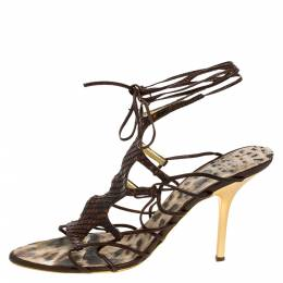 Roberto Cavalli Brown Python Lace Up Ankle Tie Sandals Size 40 275502
