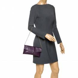 Carolina Herrera Purple Leather Chain Clutch 275698