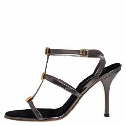 Roberto Cavalli Metallic Grey Leather Crystal Embellished Strappy Sandals Size 41 274744