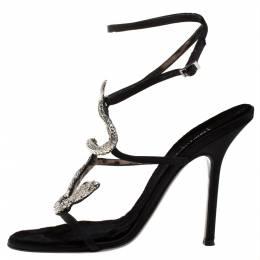 Roberto Cavalli Black Satin Snake Embellished Sandals Size 41 274746