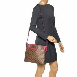 Coach Beige/Pink Signature Coated Canvas Crossbody Bag 275700