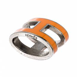 Hermes Pop H Orange Lacquer Palladium Plated Pendant 275406