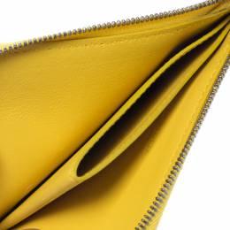 Bottega Veneta Yellow Intrecciato Leather Zip Around Wallet