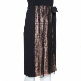 Valentino Black Crepe and Lace Insert Midi Skirt M 275411