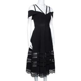 Self-Portrait Black Cady Lace Trim Draped Shoulder Midi Dress L 275254