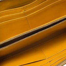 Miu Miu Yellow Croc Embossed Leather Zip Around Wallet 276495