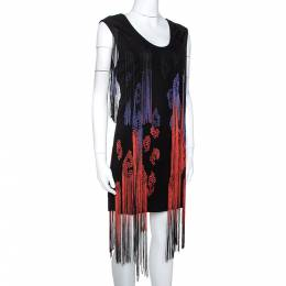 Just Cavalli Black Jersey Fringe Detail Shift Dress M 275262