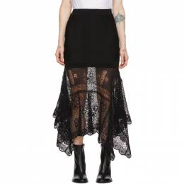 Alexander McQueen Black Patchwork Lace Knit Skirt 622719Q1AN3
