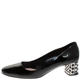 Miu Miu Black Patent Leather Crystal Embellished Block Heel Pumps Size 38.5 275670