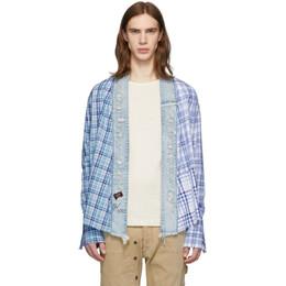 Greg Lauren Blue Paul and Shark Edition Kimono Shirt P20P3475