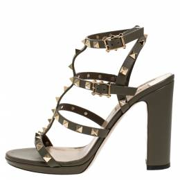 Valentino Green Leather Rockstud Block Heel Cage Ankle Strap Sandals Size 39