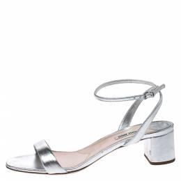 Miu Miu Metallic Silver Leather Ankle Strap Block Heel Sandals Size 39.5 275459