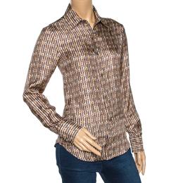 Just Cavalli Brown Abstract Printed Silk Shirt S 275113