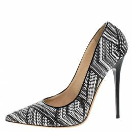 Jimmy Choo Black/White Geometric Print Woven Fabric Abel Pumps Size 38.5 275853