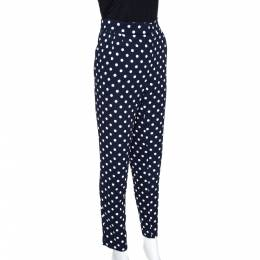 Ch Carolina Herrera Navy Blue Polka Dotted Tapered High Waist Trousers M 275619